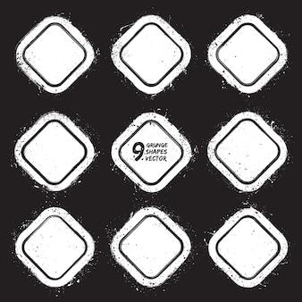 Гранж абстрактный текстурированные значки векторный набор