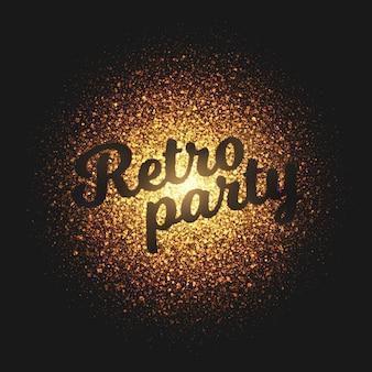 Ретро вечеринка золотые частицы векторный фон