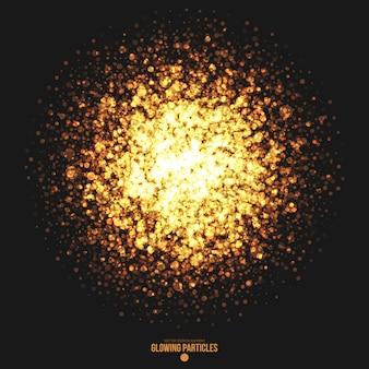黄金の輝く丸い粒子のベクトルの背景