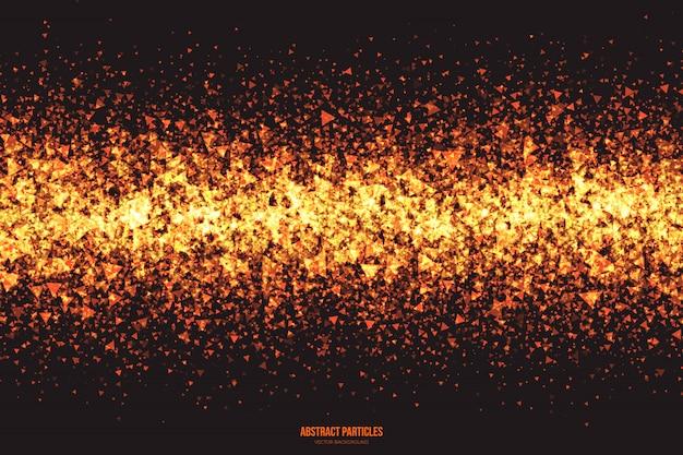 抽象的な輝く三角粒子のベクトルの背景
