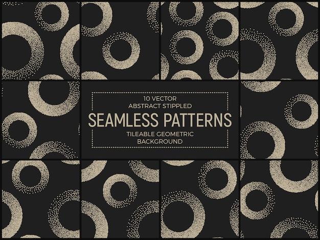 抽象的な点描のシームレスパターンのセット