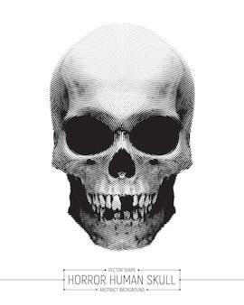 Векторная иллюстрация человека череп ужаса искусства