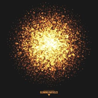 黄金の輝く三角形粒子のベクトルの背景