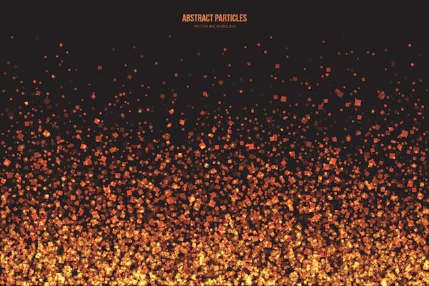 抽象的な明るいゴールデンキラキラ輝く正方形の粒子のベクトルの背景。