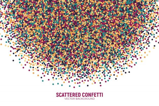 Вектор разбросаны красочные пестрой конфетти фон. частицы бумажной круглой бумаги разноцветные.
