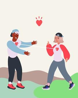 Молодая пара влюбиться в плоский вектор