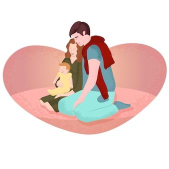 若い家族のロマンチックなアートのベクトル図