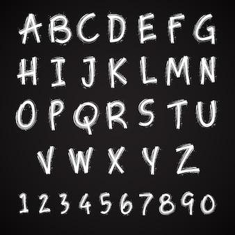数字とグランジハンドメイドフォントのタイポグラフィのアルファベット