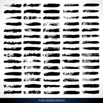 Гранж чернила кисти для дизайна и живописи векторный набор