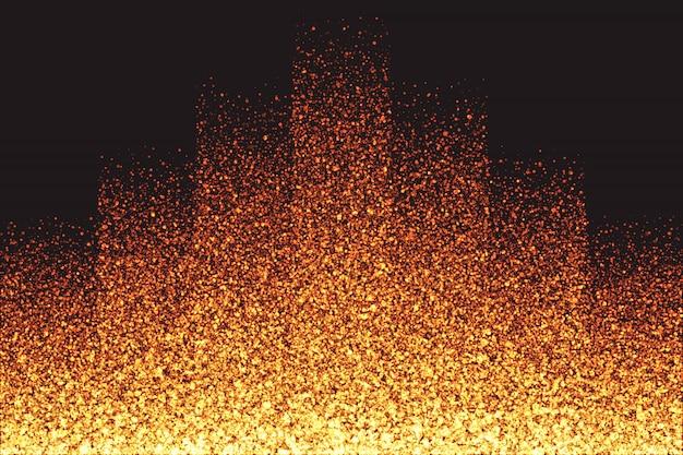きらめく輝くゴールデン粒子のベクトルの背景