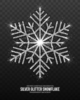 Новогоднее украшение серебряная снежинка