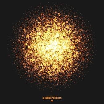 黄金のきらめき輝くクロス粒子背景