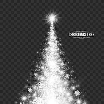 透明な背景に様式化されたクリスマスツリー