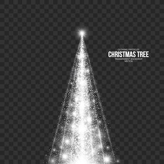 透明な背景に抽象的なクリスマスツリー