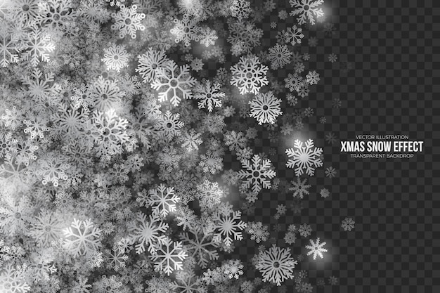 透明な背景にクリスマス雪の効果