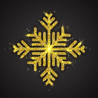 Золотая сверкающая снежинка новогоднее украшение
