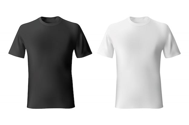 Черно-белая мужская футболка шаблон реалистично