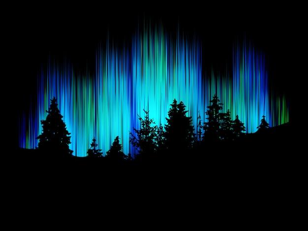 背景の陽気なダンサーに対する森林シルエット。