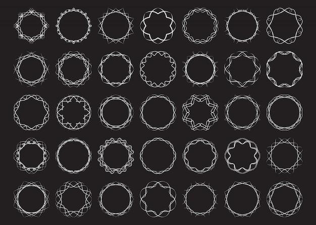 Абстрактные круглые рамки набор витых элементов дизайна