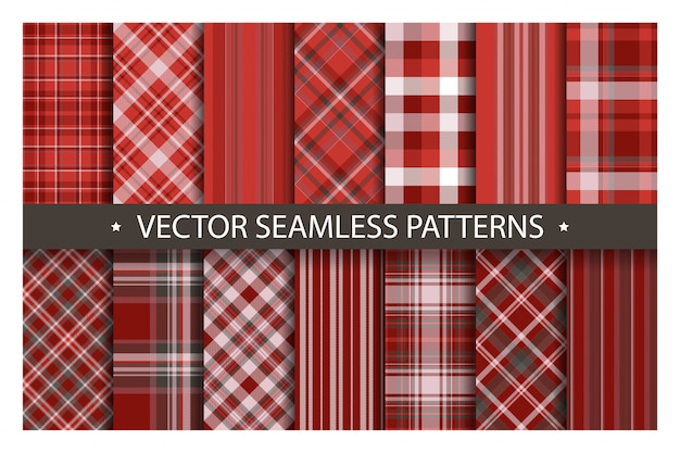 シームレスな格子縞のパターン、タータンパターンファブリックテクスチャ背景、スコットランドのストライプブランケットを設定します。