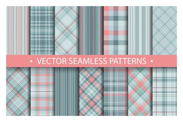 Установите плед узор бесшовные, тартан узоры ткани текстуры фона, шотландская полоса одеяла