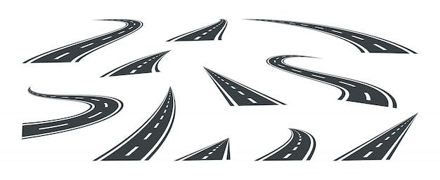 Установите улицу и дорогу, изолированные на фоне