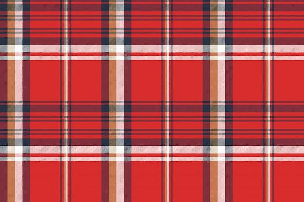赤い格子縞生地テクスチャのシームレスパターン