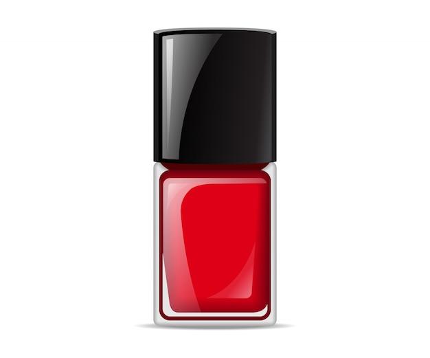 Красные лаки для ногтей, содержащиеся в бутылке