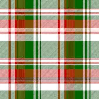 緑赤明るいチェック生地テクスチャのシームレスパターン