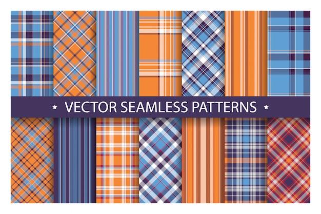 シームレスな華やかな格子縞のパターン。青とオレンジ色のベクトルの背景を設定します。ファブリックテクスチャコレクション。