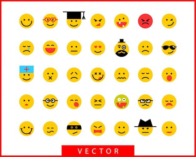 大きなセットは笑顔に直面します。コレクション笑顔のアイコンベクトル記号。スマイリーの顔の漫画のキャラクター。