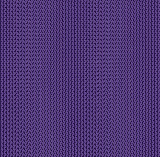 Вяжем текстуру фиолетового цвета. вектор бесшовные модели ткани. вязание фона плоский дизайн.