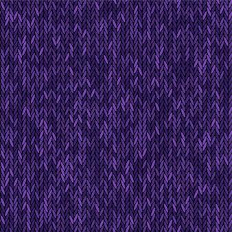 Вяжем текстуру меланж фиолетового цвета. вектор бесшовные модели ткани. вязание фона плоский дизайн.