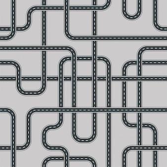 ツイスト通りと道路のシームレスパターン