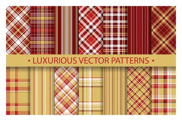シームレスな華やかな格子縞のパターン。豪華な金と赤のベクトルの背景を設定します。ファブリックテクスチャコレクション。