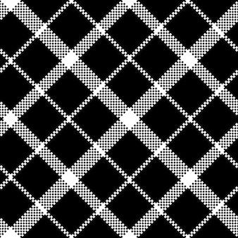 スコットランドタータンブラックピクセル生地テクスチャシームレスパターンの花