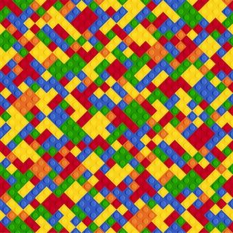 多色の抽象的なプラスチックコンストラクターのシームレスパターン