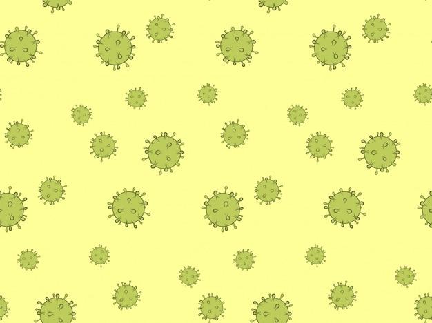 ウイルスのシームレスなパターン。ヘルスケアと医療の背景概念。バイオ感染症のイラスト。