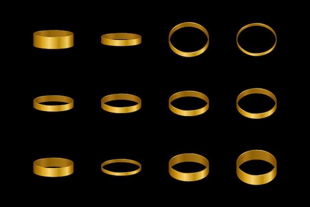 Золотые кольца для пары влюбленных. элемент дизайна для помолвки или свадьбы.