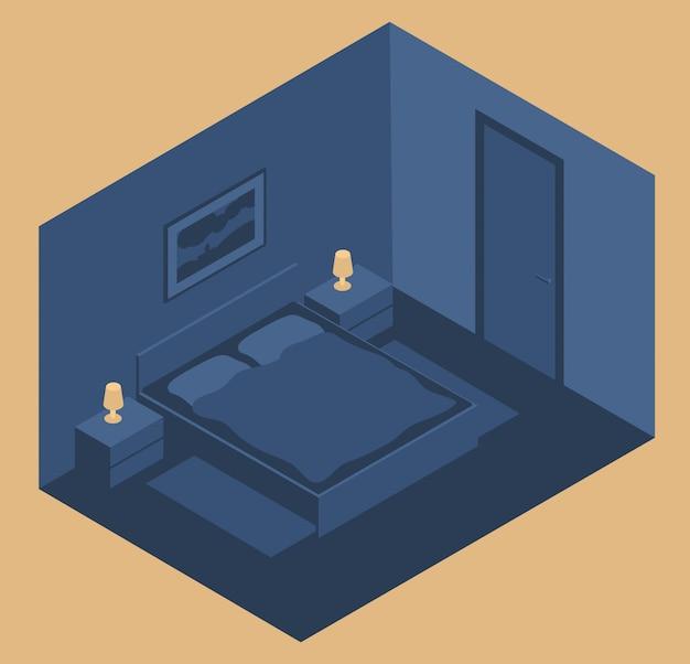 夜のベッドとベッドサイドテーブル付きのベッドルームのインテリア。アイソメトリックスタイル