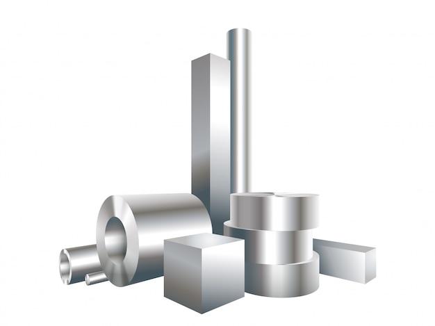 Группа различных металлических стальных объектов круг, квадрат, гильза, труба