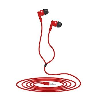 赤い音楽有線ヘッドフォン