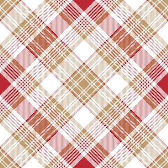 ベージュ赤白チェック格子縞のシームレスパターン