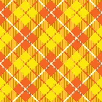 オレンジイエロータータンチェック生地テクスチャ斜めの小さなパターンシームレス