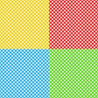 異なる色チェック生地テーブルクロステクスチャのシームレスパターン