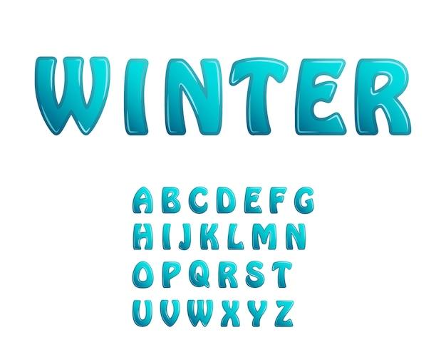 青い氷光沢のある文字休日冬フォント