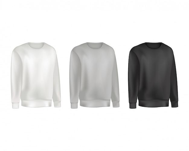スウェットシャツとラグランセーターグレーと黒の色の男服セット。