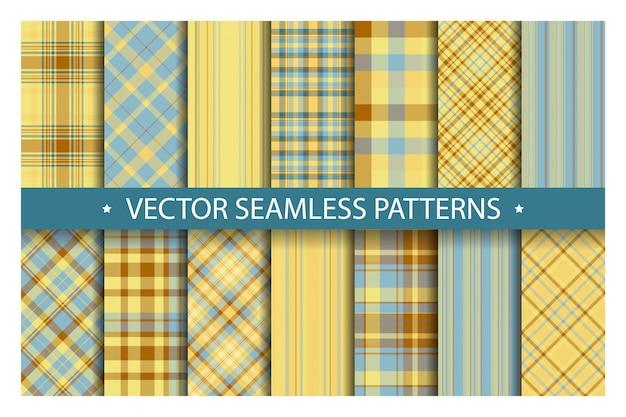 格子縞のパターンをシームレスに設定します。タータンパターンの生地のテクスチャ。市松模様の幾何学的な背景。スコットランドのストライプブランケット背景