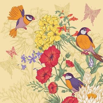 バラと野生の花を持つヴィンテージの花カード
