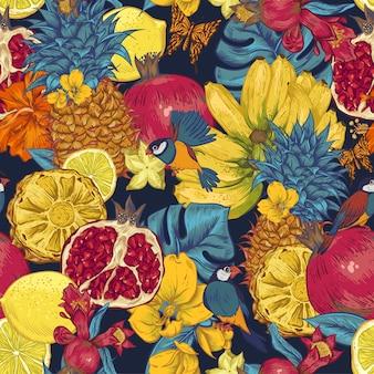 Винтажная цветочная открытка с розами и полевыми цветами